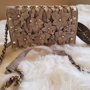 "Mary Frances ""Floral Shimmer Mini"" Leather Bag"